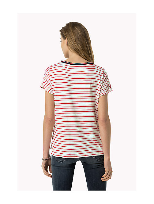 TOMMY JEANS Gestreept T-shirt - BRIGHT WHITE / ROSE RED - TOMMY JEANS Kleding - detail image 1
