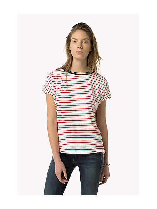 TOMMY JEANS Gestreept T-shirt - BRIGHT WHITE / ROSE RED - TOMMY JEANS Kleding - main image
