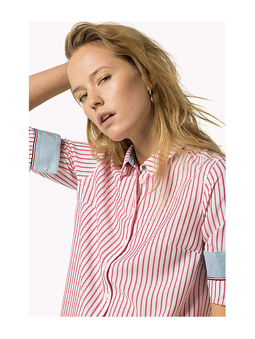 TOMMY JEANS Gestreept overhemd - BRIGHT WHITE / ROSE RED - TOMMY JEANS Kleding - main image