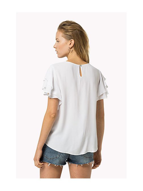 TOMMY JEANS Textured Viscose Top - BRIGHT WHITE - TOMMY JEANS Women - detail image 1