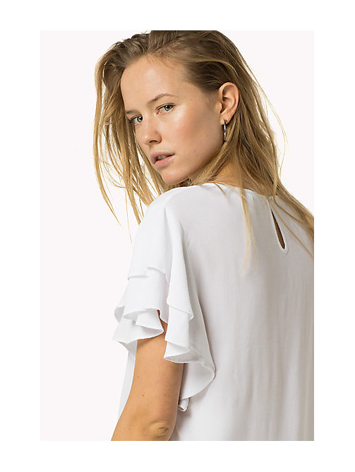 TOMMY JEANS Textured Viscose Top - BRIGHT WHITE - TOMMY JEANS Women - main image