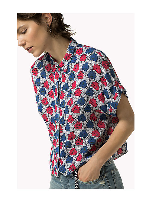 TOMMY JEANS Cropped Printed Shirt - POP ART FLOWER PRINT - TOMMY JEANS Women - main image