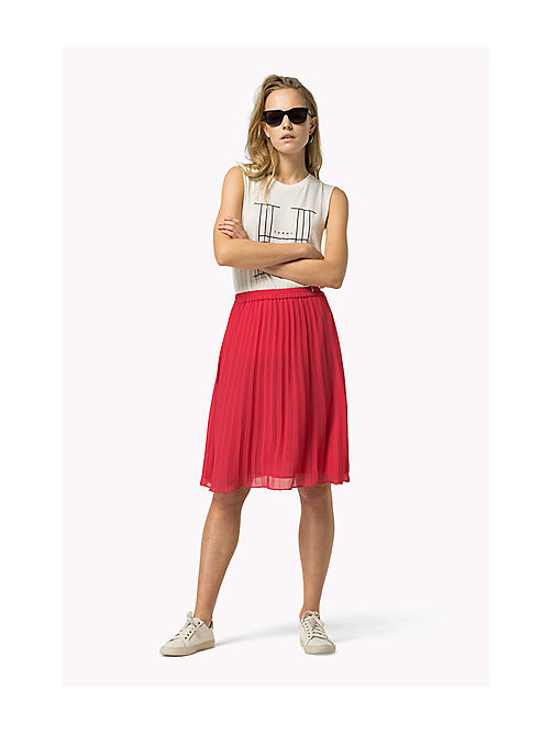 TOMMY JEANS Pleated Chiffon Skirt - ROSE RED - TOMMY JEANS Women - main image