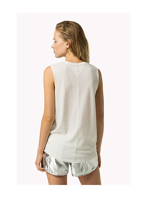 TOMMY JEANS Cotton Linen Tank Top - BRIGHT WHITE - TOMMY JEANS Women - detail image 1