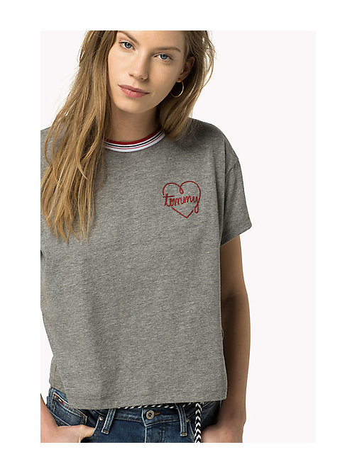 TOMMY JEANS Embroidered Logo T-Shirt - MID GREY HEATHER - TOMMY JEANS Women - main image