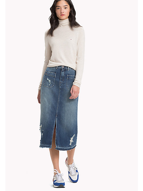 TOMMY JEANS Denim Midi Skirt - LIGHT REPAIRED RIGID - TOMMY JEANS Dresses, Jumpsuits & Skirts - main image