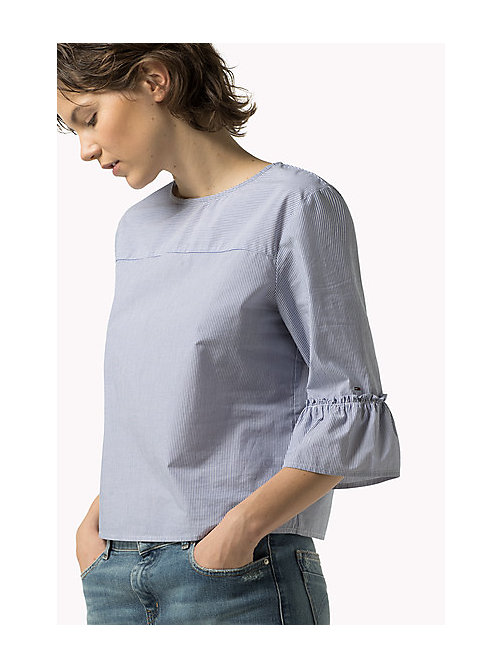 TOMMY JEANS Striped Cotton Top - GALAXY BLUE / BRIGHT WHITE - TOMMY JEANS Women - main image