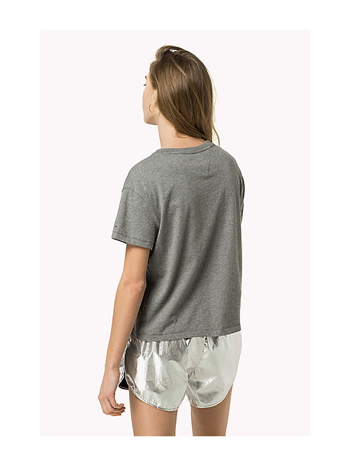 TOMMY JEANS Cropped Logo T-Shirt - MID GREY HEATHER - TOMMY JEANS Women - detail image 1