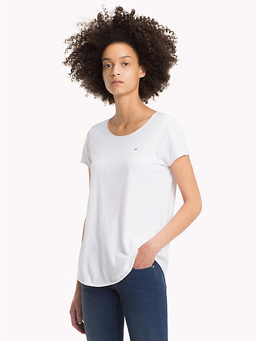 TOMMY JEANS Organic Cotton Jersey Top - BRIGHT WHITE - TOMMY JEANS Tops - main image
