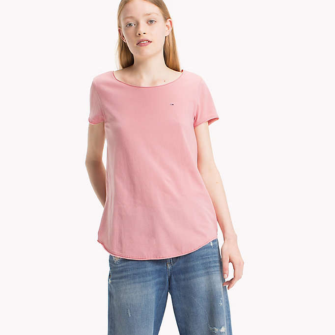 TOMMY JEANS Organic Cotton Jersey Top - BRIGHT WHITE - TOMMY JEANS Clothing - main image