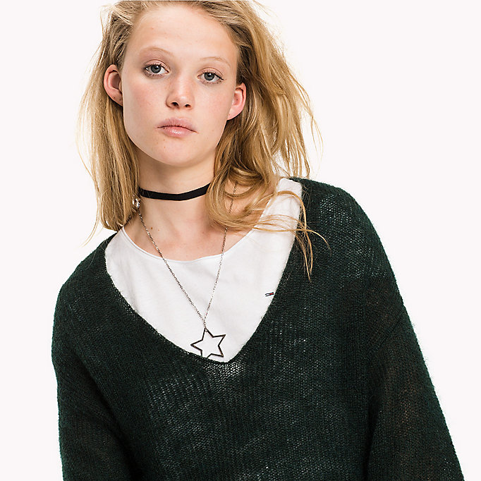 TOMMY JEANS Mohair Blend V-neck  Jumper - ANGEL BLUE - TOMMY JEANS Clothing - detail image 2