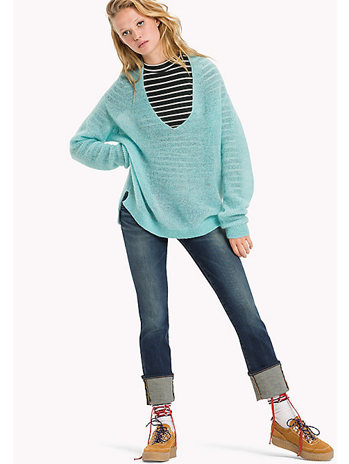 TOMMY JEANS Mohair Blend V-neck  Jumper - ANGEL BLUE - TOMMY JEANS Women - main image