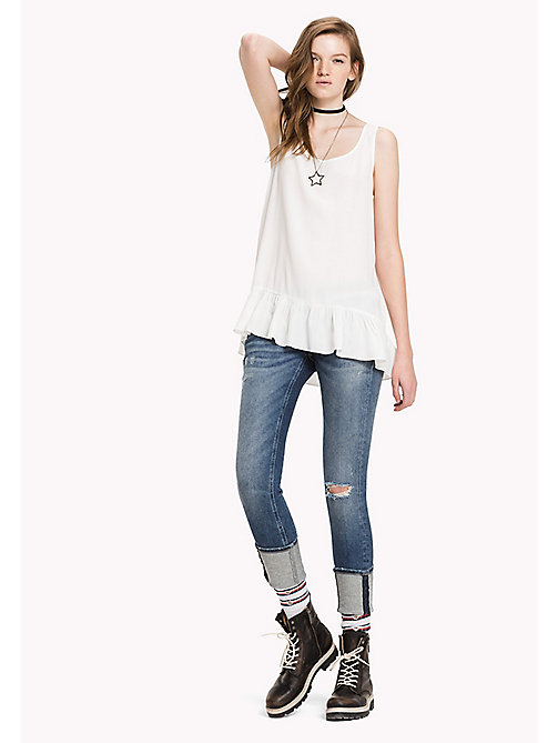 Viscose Poplin Peplum Top - SNOW WHITE - TOMMY JEANS Clothing - main image