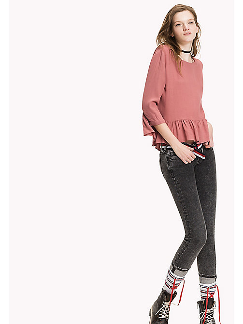 TOMMY JEANS Chemisier en popeline viscose - WITHERED ROSE - TOMMY JEANS Tops - image principale