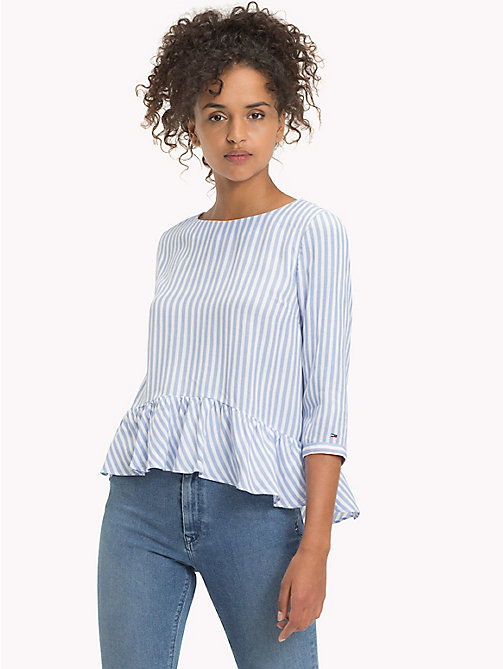 TOMMY JEANS Chemisier en popeline viscose - SERENITY / BRIGHT WHITE - TOMMY JEANS Tops - image principale