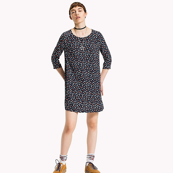 TOMMY JEANS Viscose Printed Dress - POLKA DOT PRINT BIG-MEDIEVAL BLUE - TOMMY JEANS Clothing - main image