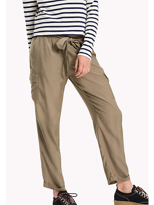 TOMMY JEANS Viscose Utility Pants - COVERT GREEN - TOMMY JEANS Trousers & Shorts - main image