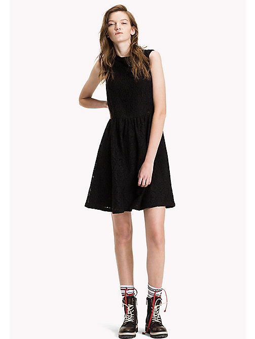 TOMMY JEANS Lace Flare Dress - BLACK BEAUTY - TOMMY JEANS Dresses, Jumpsuits & Skirts - main image