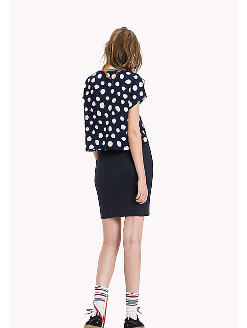 Chiffon Cropped Top - POLKA DOT PRINT BIG-MEDIEVAL BLUE -  Clothing - detail image 1
