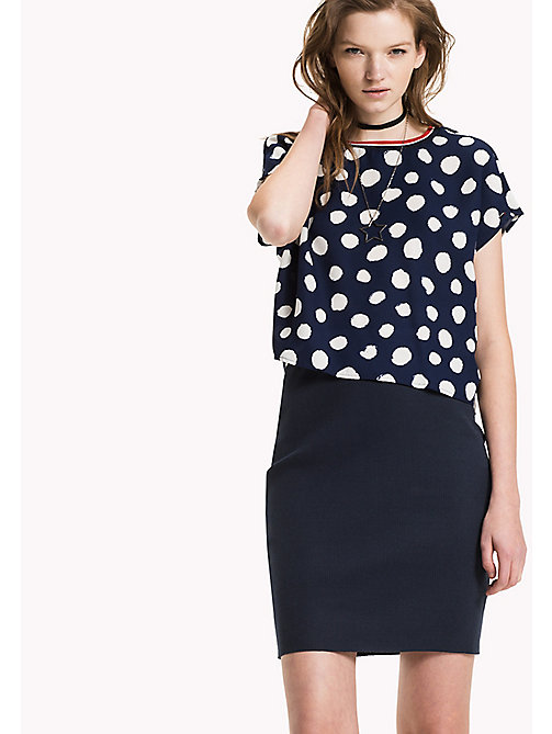 Chiffon Cropped Top - POLKA DOT PRINT BIG-MEDIEVAL BLUE -  Clothing - main image