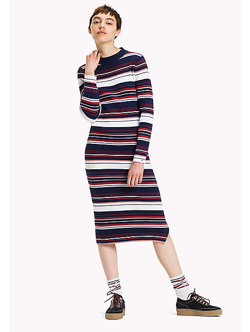 TOMMY JEANS Rib-knit Maxi Dress - MEDIEVAL BLUE / MULTI - TOMMY JEANS Dresses, Jumpsuits & Skirts - main image