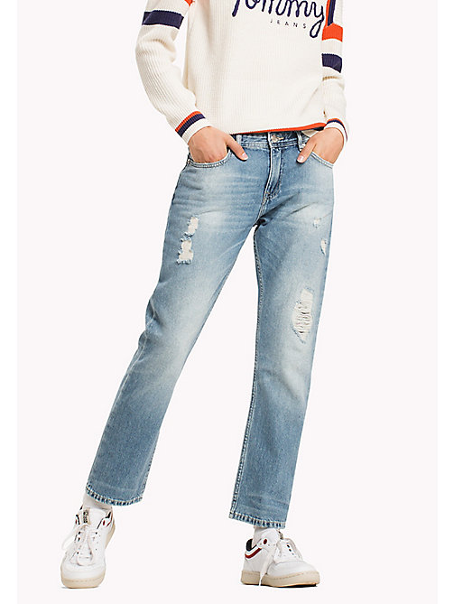 TOMMY JEANS Straight Fit Jeans - KANSAS LIGHT BLUE RIGID DESTRUCTED -  Jeans - main image