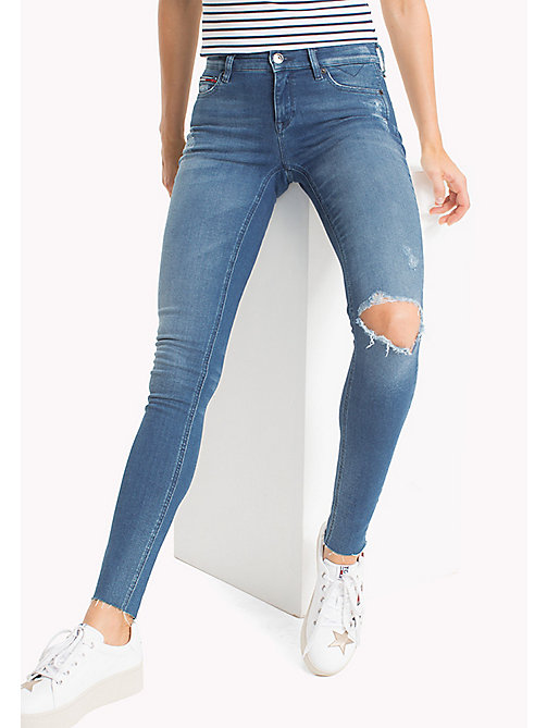 TOMMY JEANS Distressed Mid Rise Skinny Fit Jeans - FARGO MID BLUE STRETCH DESTRUCTED - TOMMY JEANS WOMEN - main image