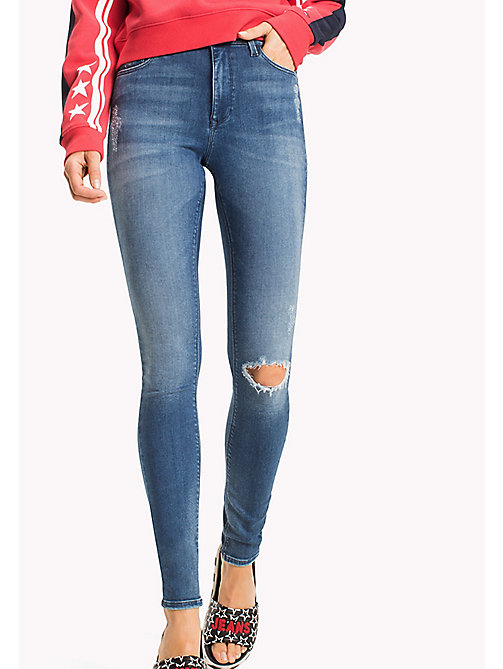 TOMMY JEANS High Rise Skinny Fit Jeans - FARGO MID BLUE STRETCH DESTRUCTED - TOMMY JEANS Jeans - main image