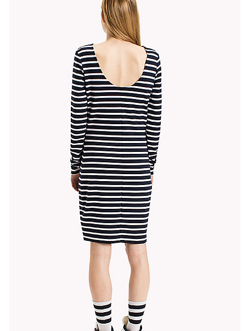 TOMMY JEANS Jersey Striped Dress - NAVY BLAZER / BRIGHT WHITE - TOMMY JEANS Dresses & Jumpsuits - detail image 1