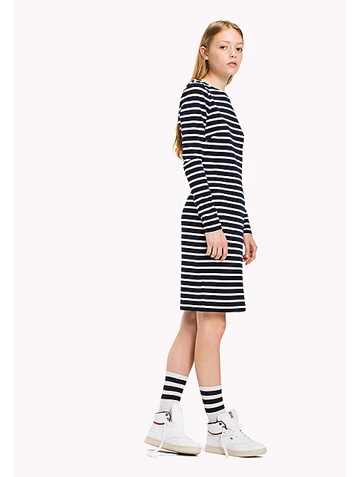 TOMMY JEANS Jersey Striped Dress - NAVY BLAZER/BRIGHT WHITE - TOMMY JEANS Dresses & Jumpsuits - main image