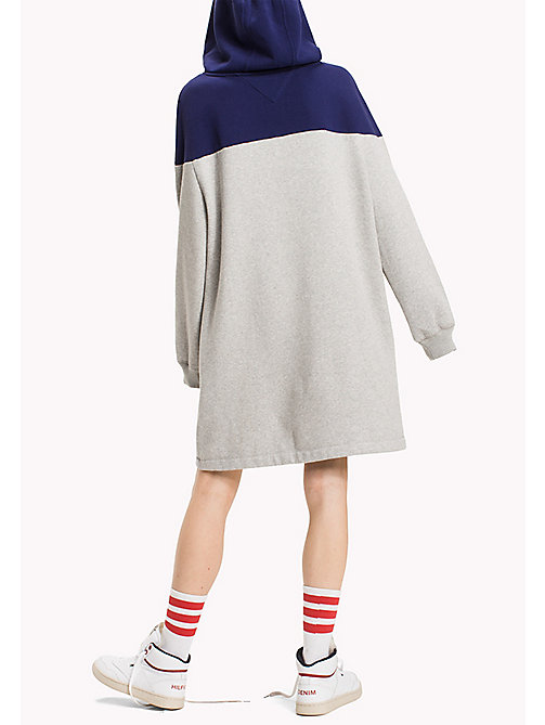 TOMMY JEANS Fleece Colour Blocked Dress - LIGHT GREY HTR / BLUE RIBBON - TOMMY JEANS Dresses & Jumpsuits - detail image 1