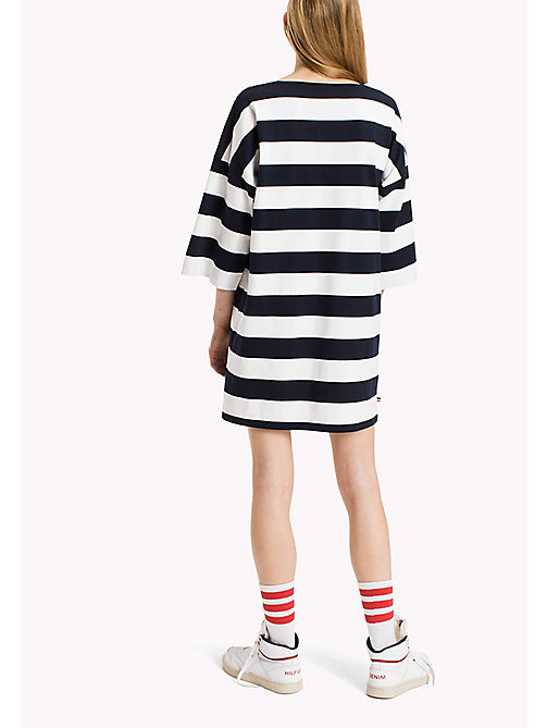 TOMMY JEANS Jersey Striped Dress - BRIGHT WHITE / NAVY BLAZER - TOMMY JEANS Dresses & Jumpsuits - detail image 1