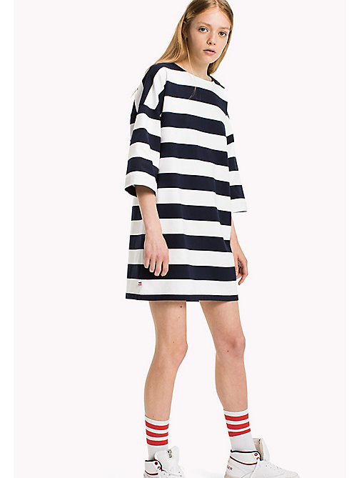 TOMMY JEANS Jersey Striped Dress - BRIGHT WHITE / NAVY BLAZER - TOMMY JEANS Dresses & Jumpsuits - main image