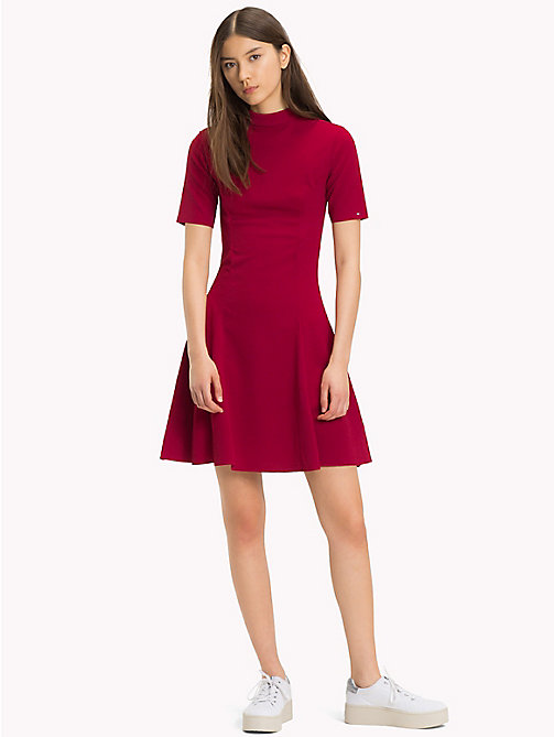 TOMMY JEANS Jersey Fit And Flare Dress - PERSIAN RED - TOMMY JEANS Dresses & Jumpsuits - main image