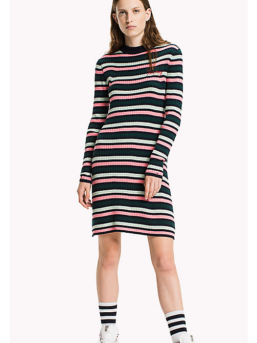 TOMMY JEANS Combed Cotton Flared Dress - NAVY BLAZER / MULTI - TOMMY JEANS Dresses & Jumpsuits - main image