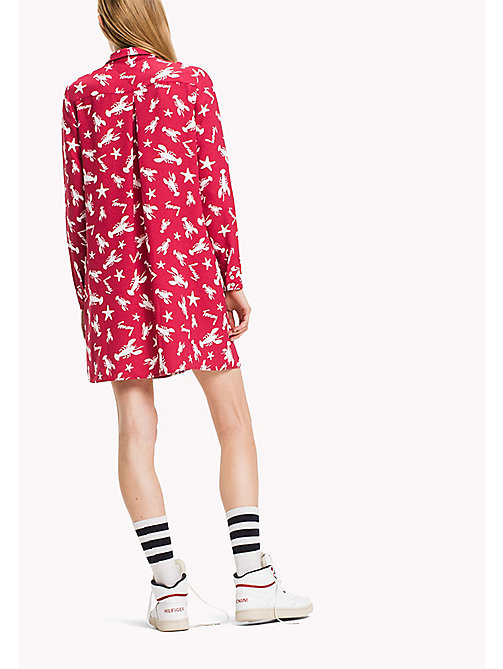 TOMMY JEANS Poplin Printed Shirt Dress - LOBSTER RED - TOMMY JEANS Dresses & Jumpsuits - detail image 1