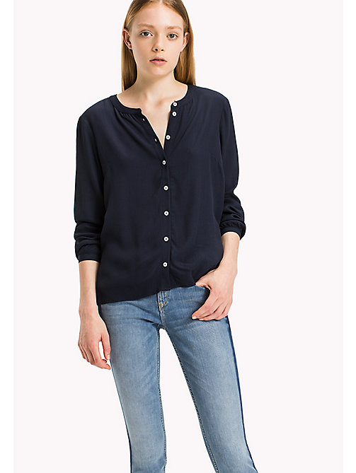 TOMMY JEANS Viscose Poplin Blouse - NAVY BLAZER - TOMMY JEANS Clothing - main image