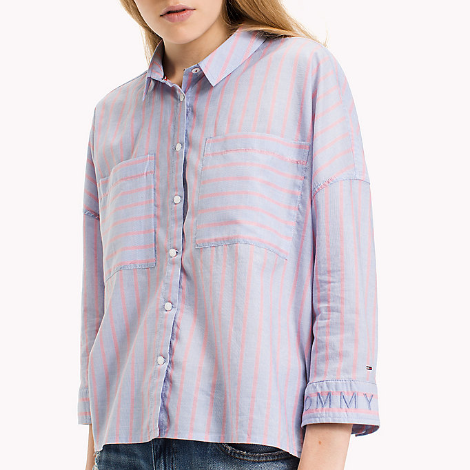 TOMMY JEANS Cotton Loose Shirt - AQUA FOAM / SERENITY - TOMMY JEANS Clothing - detail image 2