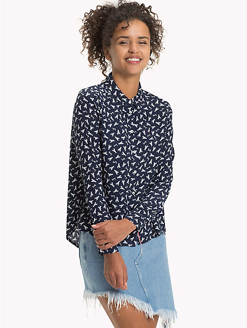 TOMMY JEANS Viscose Printed Shirt - LOBSTER SMALL - TOMMY JEANS Tops - main image