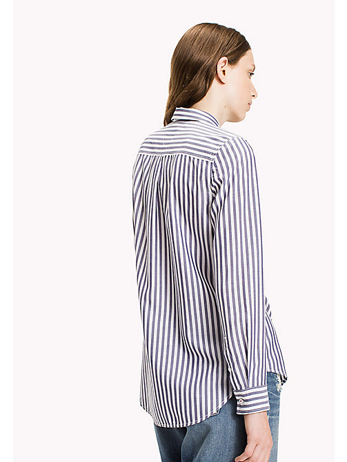TOMMY JEANS Tencel Blend Striped Shirt - BRIGHT WHITE / BLUE RIBBON - TOMMY JEANS Tops - detail image 1