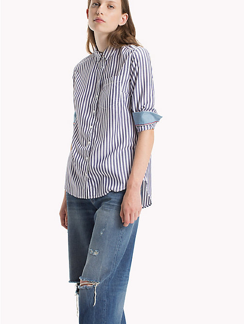 TOMMY JEANS Tencel Blend Striped Shirt - BRIGHT WHITE / BLUE RIBBON - TOMMY JEANS Tops - main image