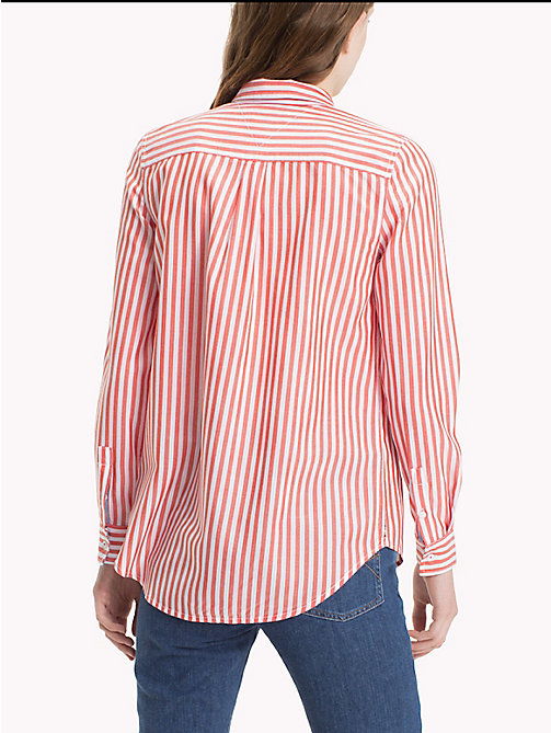TOMMY JEANS Tencel Blend Striped Shirt - BRIGHT WHITE / SPICY ORANGE - TOMMY JEANS Tops - detail image 1