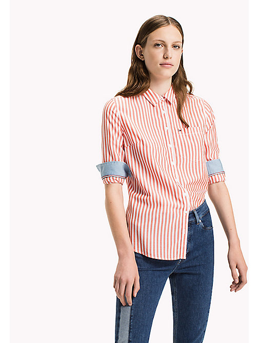 TOMMY JEANS Tencel Blend Striped Shirt - BRIGHT WHITE / SPICY ORANGE - TOMMY JEANS Tops - main image