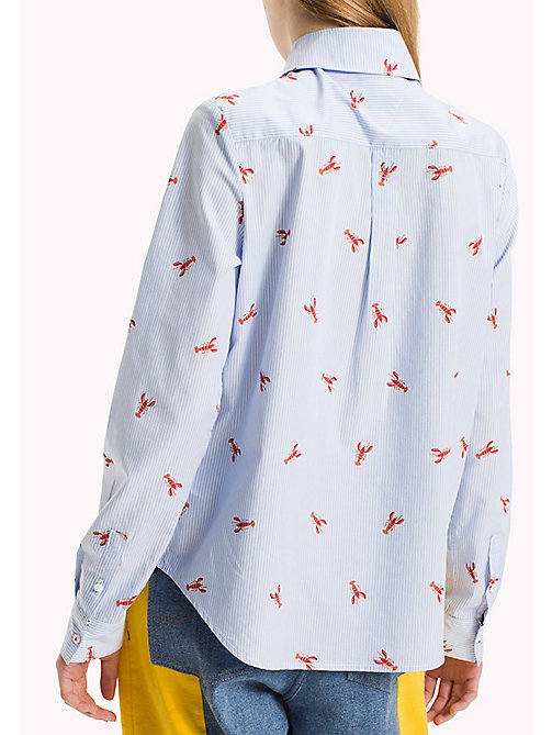 TOMMY JEANS Cotton Poplin Printed Shirt - SERENITY / BRIGHT WHITE - TOMMY JEANS Tops - detail image 1