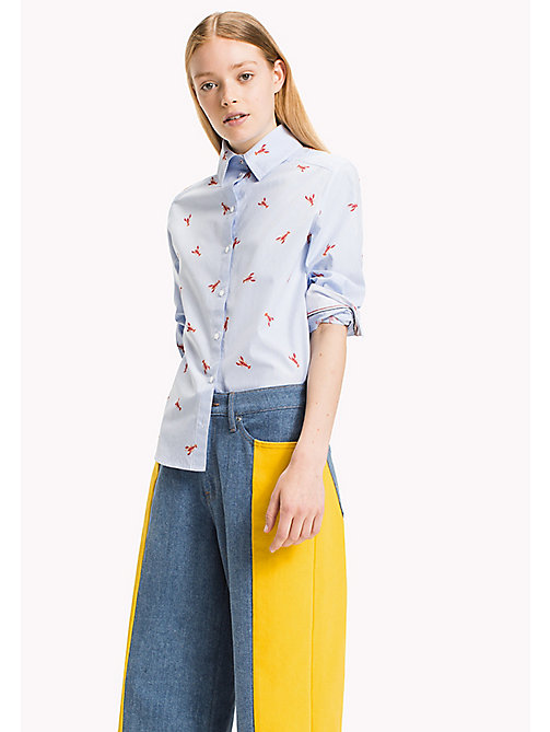 TOMMY JEANS Cotton Poplin Printed Shirt - SERENITY / BRIGHT WHITE - TOMMY JEANS Tops - main image