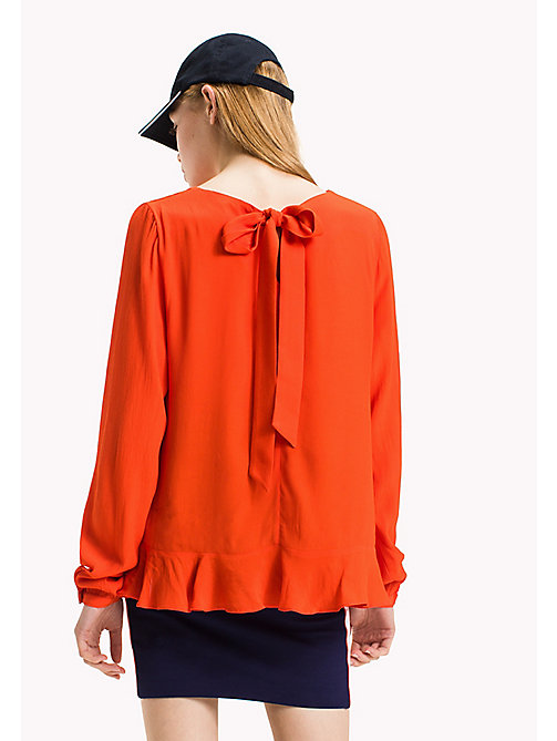 TOMMY JEANS Viskose-Bluse mit Schleife - SPICY ORANGE - TOMMY JEANS Damen - main image 1