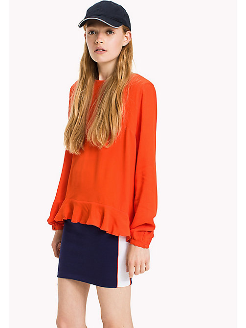 TOMMY JEANS Viscose Back Bow Blouse - SPICY ORANGE - TOMMY JEANS Clothing - main image