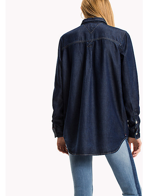 TOMMY JEANS Denim Boyfriend Shirt - DARK INDIGO - TOMMY JEANS Tops - detail image 1