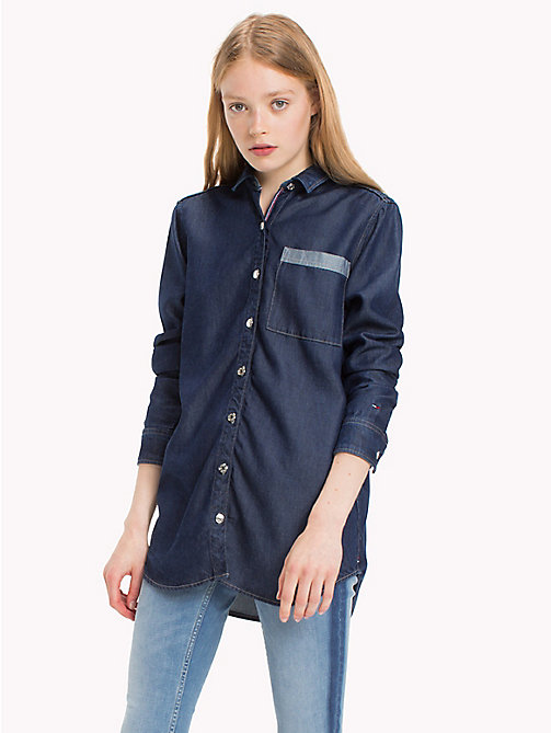 TOMMY JEANS Denim Boyfriend Shirt - DARK INDIGO - TOMMY JEANS Tops - main image