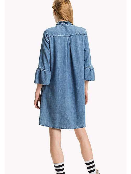 TOMMY JEANS Denim Ruffled A-Line Dress - MID INDIGO - TOMMY JEANS Dresses & Jumpsuits - detail image 1